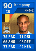 FIFA 12 Ultimate Team Card: Vincent Kompany (IF1) 90 (Blue TOTY)