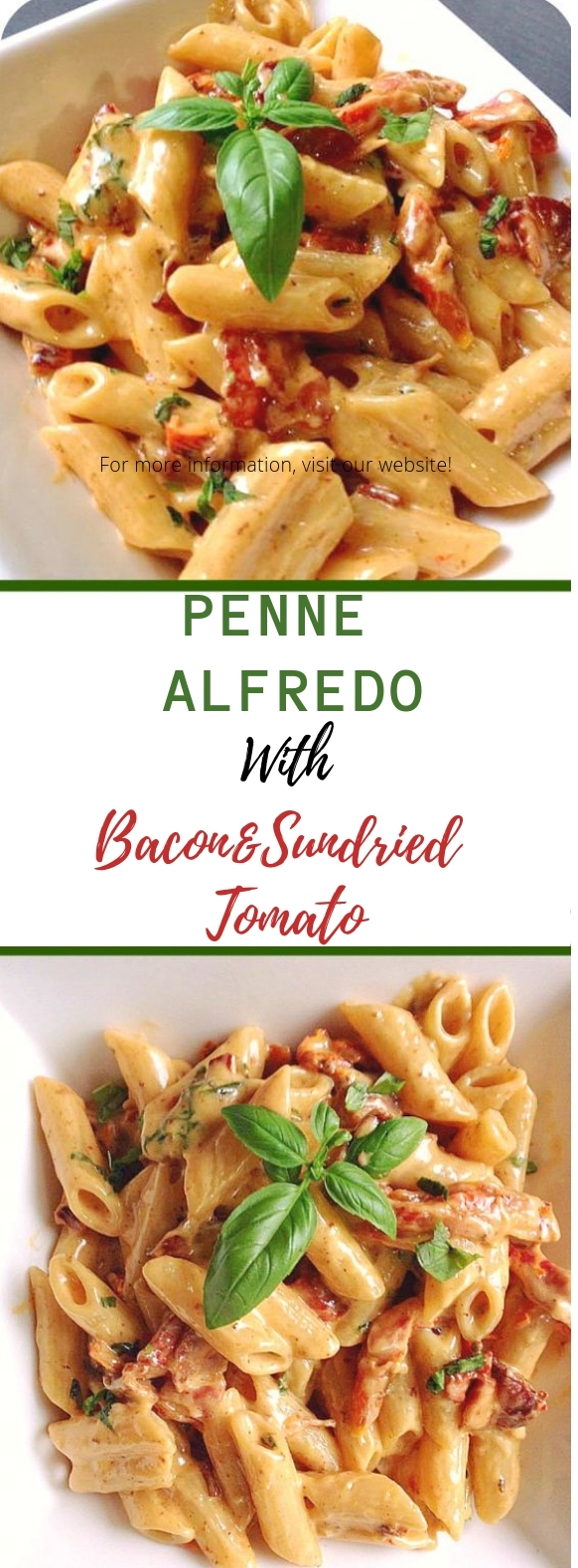 Penne Alfredo with Bacon and Sundried Tomato #pasta #dinner