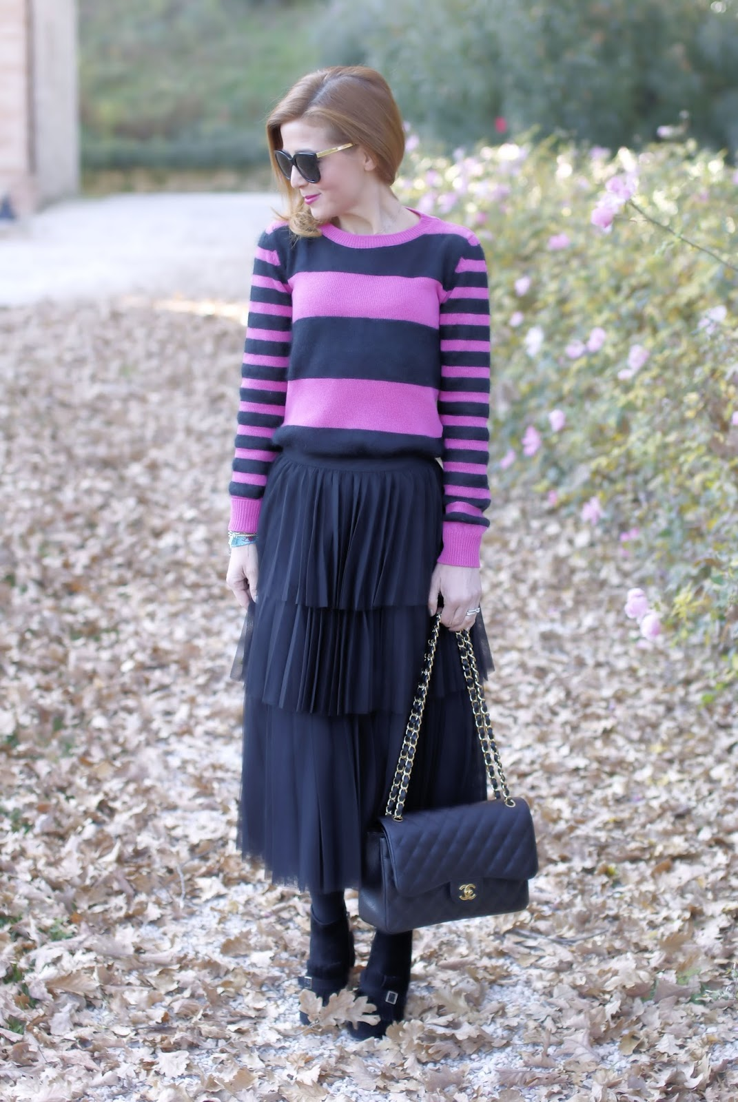 How to wear a black ruffle tulle skirt with Chanel 2.55 bag on Fashion and Cookies fashion blog, fashion blogger style