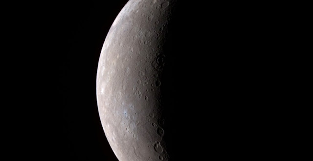 An image, taken by MESSENGER during its Mercury flyby on Jan. 14, 2008, of Mercury's full crescent.  Image: NASA/Johns Hopkins University Applied Physics Laboratory/Carnegie Institution of Washington
