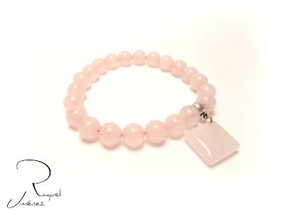 pulsera de bolas de cuarzo rosa