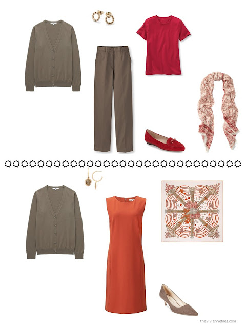 how to style a brown cardigan with red or orange