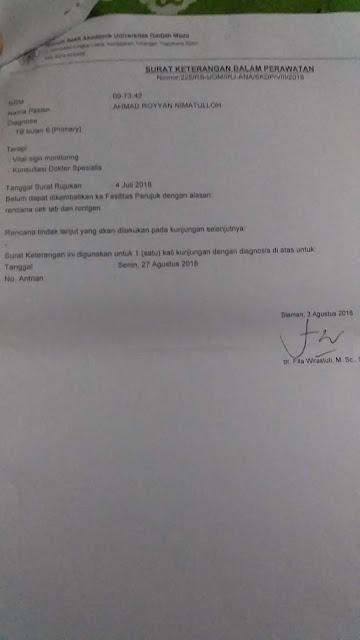 Contoh Surat Keterangan Dalam Perawatan