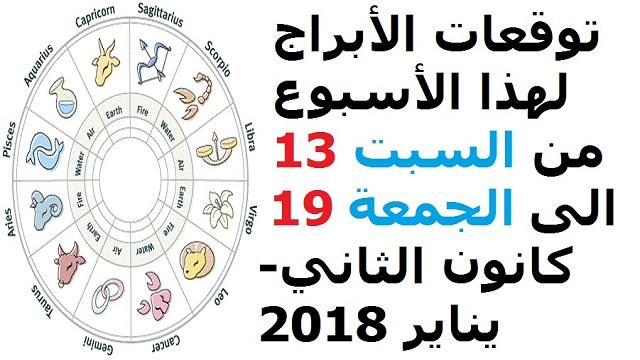 d8001f5a8 توقعات الأبراج لهذا الأسبوع من السبت 13 الى الجمعة 19 كانون الثاني-يناير  2018