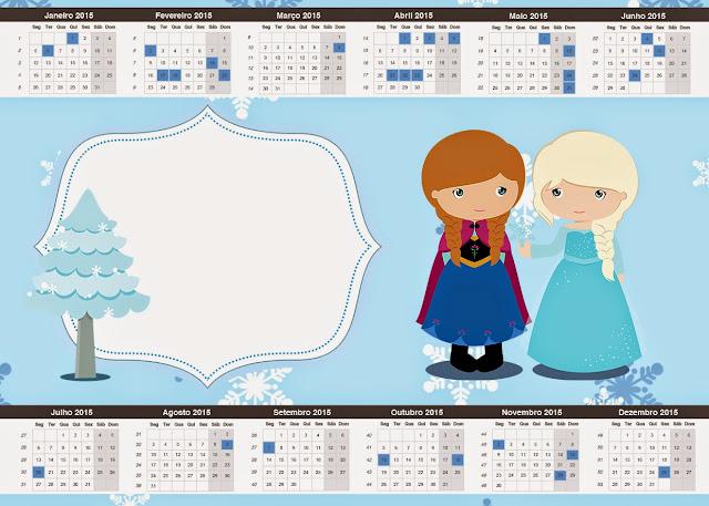 Calendario 2015 de Frozen Niñas en Navidad para imprimir gratis.