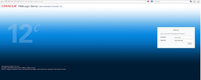 Weblogic Admin page