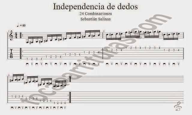 Ejercicio para trabajar la Independencia en Dedos Partitura con Tablatura en Números y 24 combinaciones Exercises for Guitar Tablature and Sheet Music with fingerings