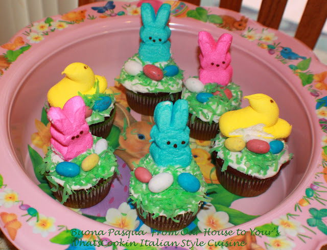 peeps, cupcakes, candy, malted milk balls, Easter