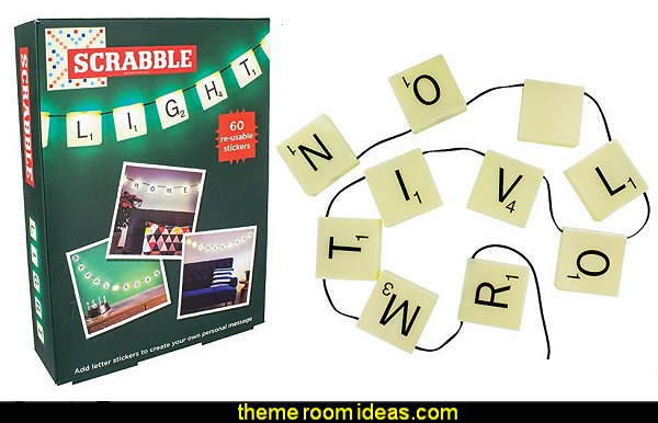 Scrabble Light   book themed decor - Bibliophiles decor - Book themed furnishings - home decor for book lovers - book themed bedroom - Stacked Books decor - Stacked Books furniture - bookworm decor - book boxes - library furniture - formal study furniture - antique book decor - unique furniture - novelty furniture - Logophile decor - scrabble themed bedroom  - scrabble wall decorations - Crossword bedroom decor