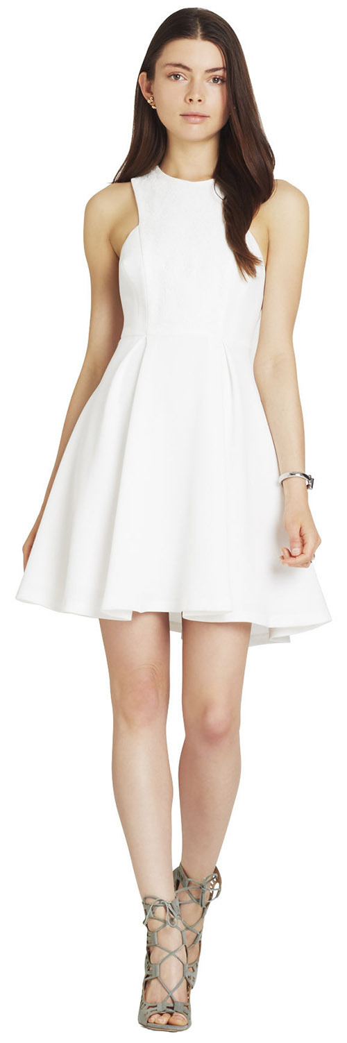 Robe courte blanche évasée BCBGeneration