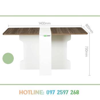 trạng thái bàn ăn khi mở 2 cánh 140 x 80 x 73 cm ngồi được 8 người