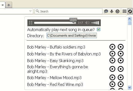 Local Music Player addon Firefox