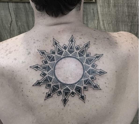 34da34907f244 One idea would be to leave the inner are of the sun circle empty and add  impressive ray designs to it like this. Sun Tattoos