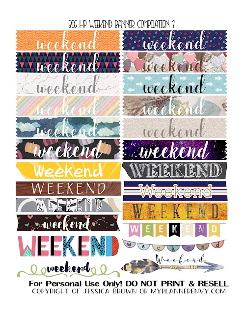 Free Printable Weekend Banner Compilation 2 for the Big Happy Planner from myplannerenvy.com