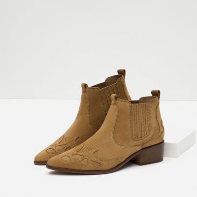 Zara Block Heel Leather Cowboy Boots