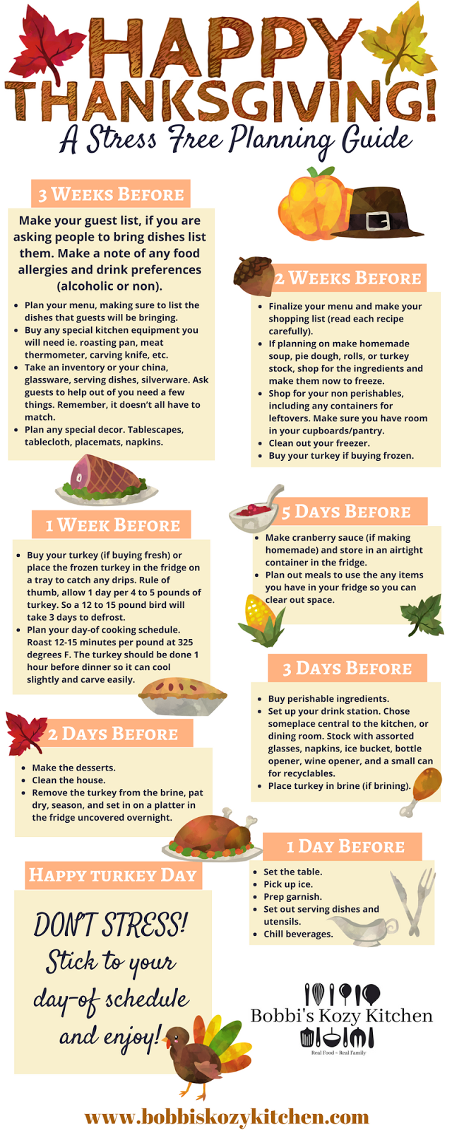 Stress-Free Thanksgiving Planning Guide + Free Downloadable Planner from www.bobbiskozykitchen.com #Thanksgiving #mealplanner #printable