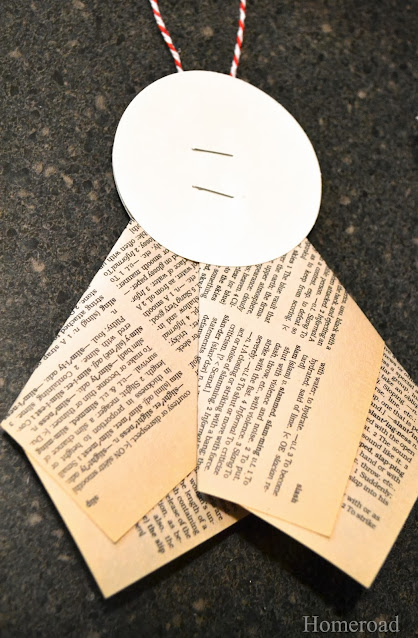 Back of Holiday recycled book ornament