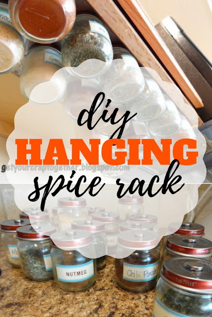 Quick upcycle to make your own DIY hanging spice rack from baby food jars.