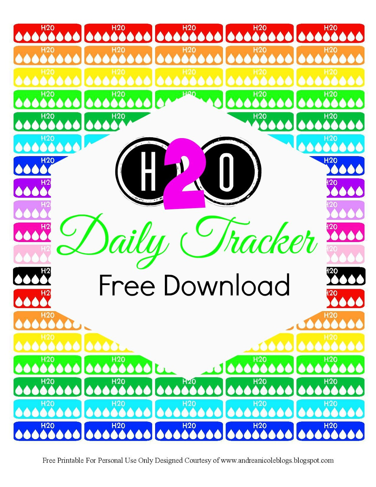 picture regarding Printable Water Tracker identify Andrea Nicole: Totally free Printable Each day H2o Tracker Planner