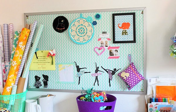Paper Rolls and Creative notice board in a craft room