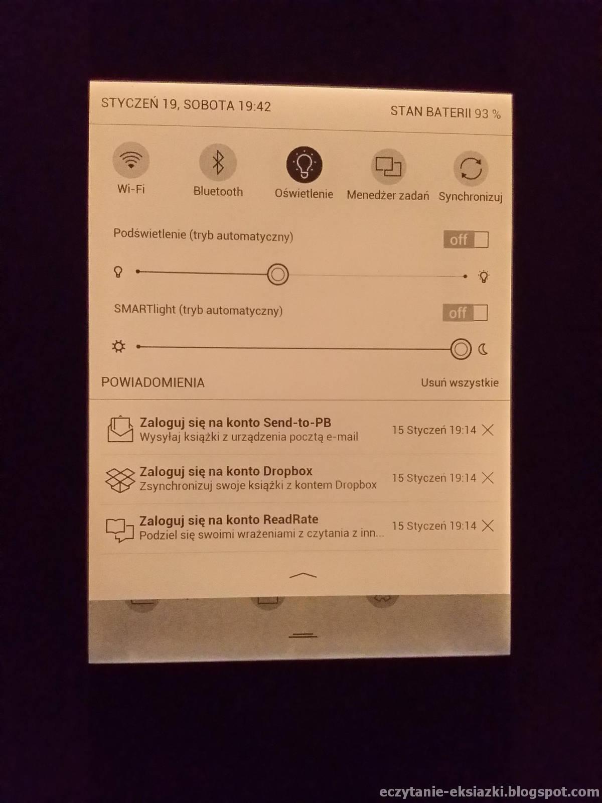 Ustawienia barwy podśáwietlenia w PocketBook Touch HD 3 – średnia intensywność i najcieplejsza barwa