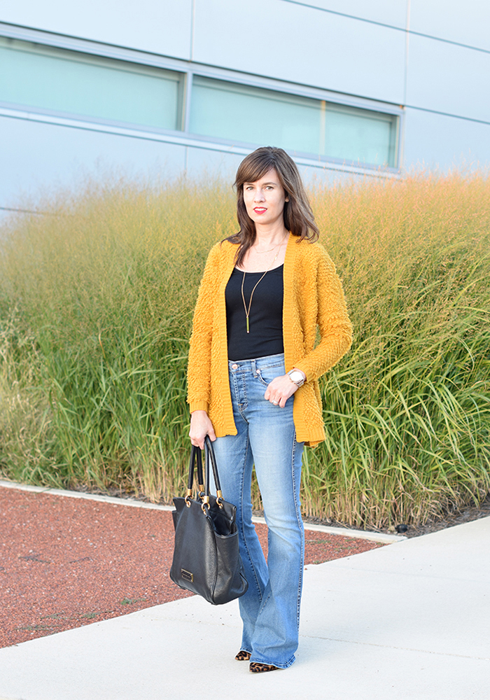flare denim, fall style, layering, cardigans, budget-friendly, fall trends