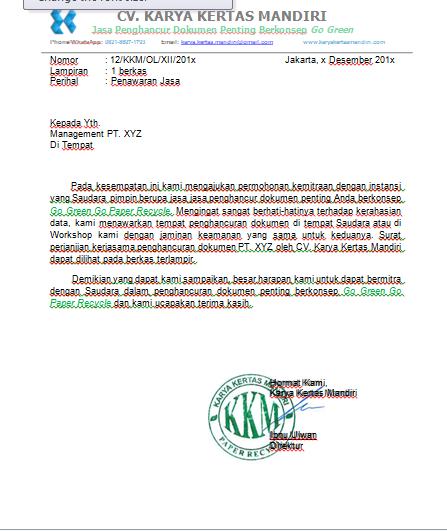 Surat Dan Proposal Pengajuan Jasa Karya Kertas Mandiri