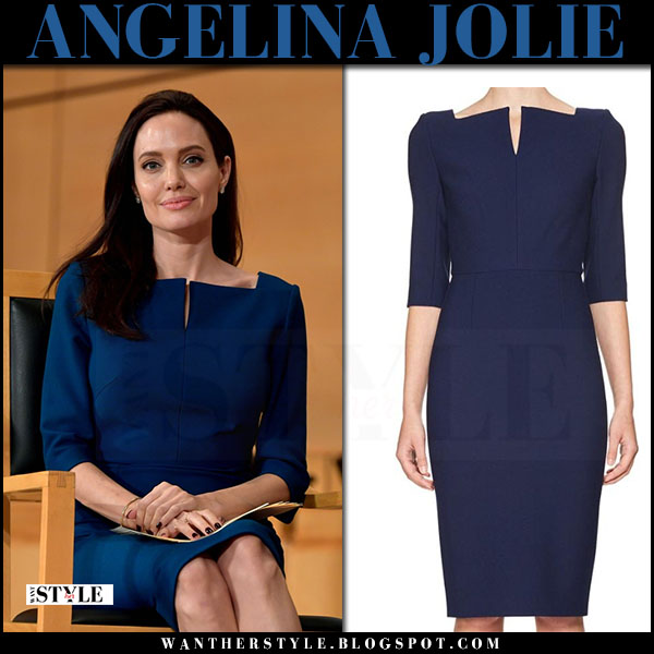Angelina Jolie in navy blue 3/4 sleeve pencil dress roland mouret at United Nations Geneva what she wore