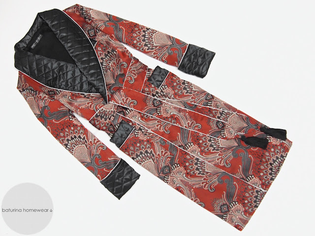 Mens long dressing gown paisley silk cotton quilted robe gentleman victorian smoking jacket red black