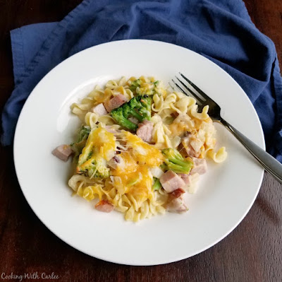 plate filled with ham and noodle bake ready to eat