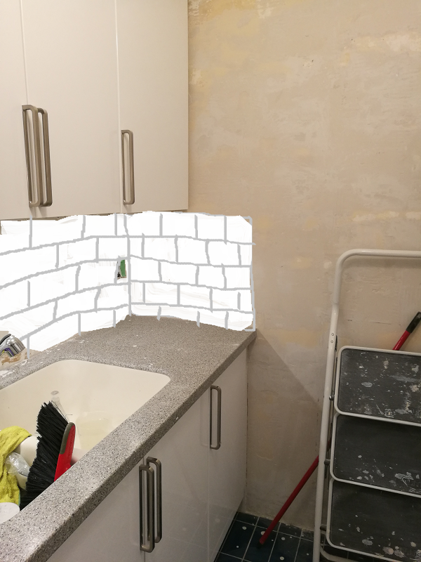 mock-up of backsplash option
