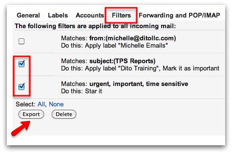 Importing and Exporting 'Time Saving' Filters in Gmail