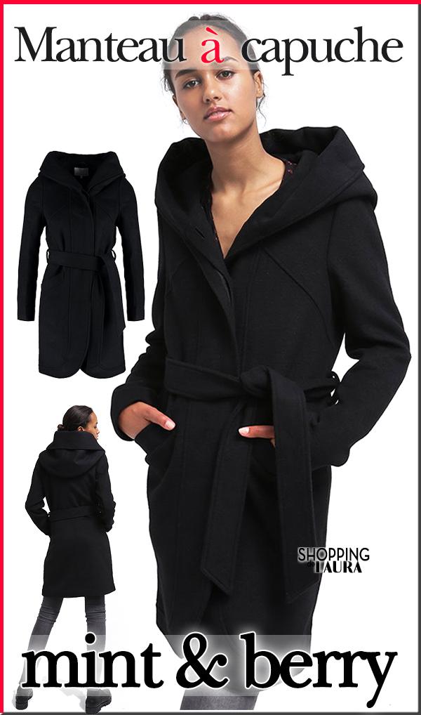 Manteau noir à capuche Mint&Berry