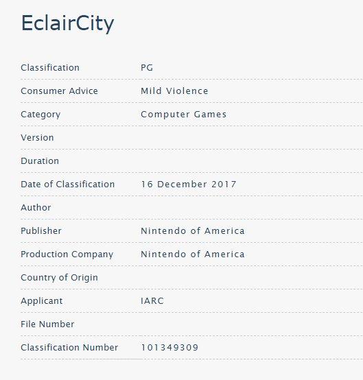 Se lista EclairCity como supuesto nuevo juego de Nintendo