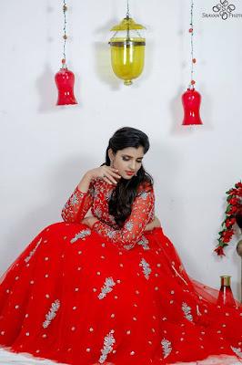 Telugu Tv Anchor Shyamala Photoshoot In Red Dress