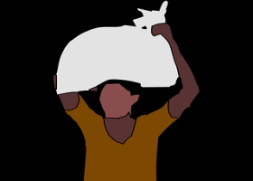 A vector image of a man carrying a load on the head.
