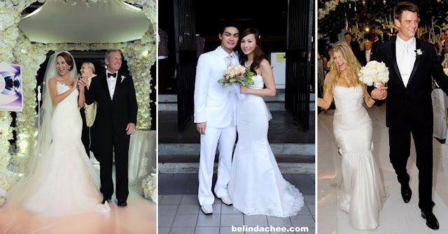 "Mermaid wedding gown: from left: Coco Lee (singer of ""Crouching Tiger Hidden Dragon"" theme song), Belinda Chee and Fergie (on her wedding with dashing ""Las Vegas"" actor Josh Duhamel)"
