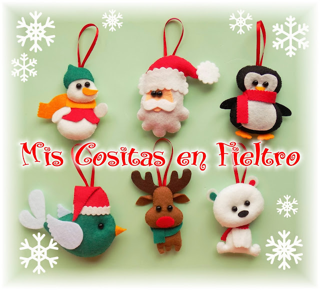 adorno, navidad, Papa Noel, Santa Claus, reno, pingüino, oso polar, oso, muñeco de nieve, árbol, colgante, fieltro, adorno de fieltro,