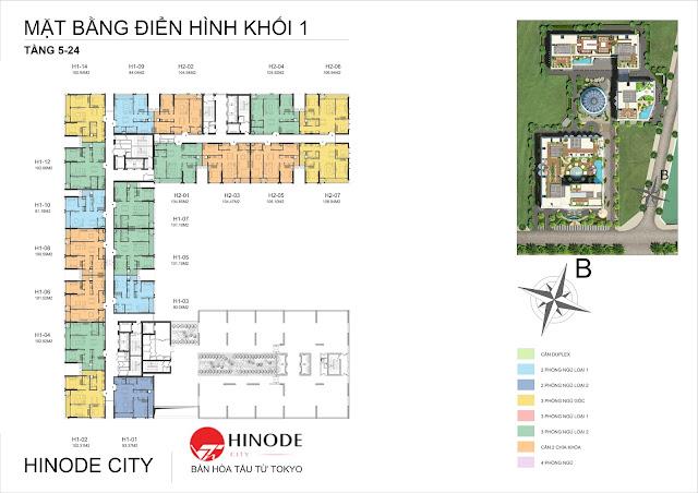 Mặt bằng tầng điển hình toà C chung cư Hinode City