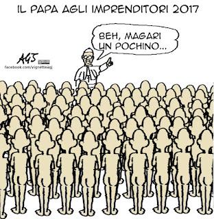 papa francesco, imprenditori, capitalismo, guadagno, vignetta satira