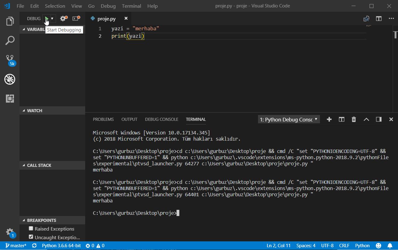 VS Code'da Python Programlama