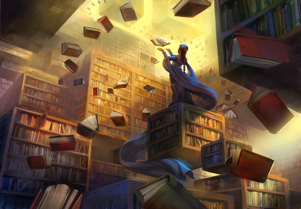 05-The-Archivist-Library-Julie-Dillon-Fantasy-Worlds-Explored-with-Digital-Art-Drawings-www-designstack-co