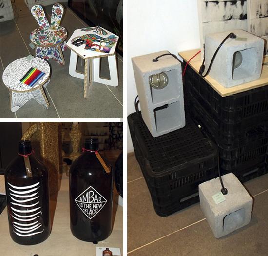design, garrafas decoradas, decoração, banco colorido, concreto, a casa eh sua, molduras
