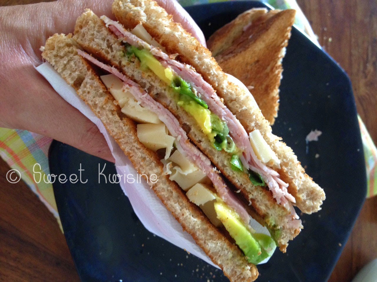 sweet kwisine, sandwiche, club, jambon, avocat, ham, avocado, healthy food, cuisine légère, recette