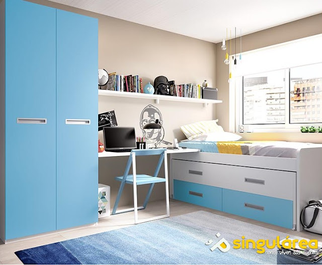 dormitorios juveniles e infantiles en blanco y azul
