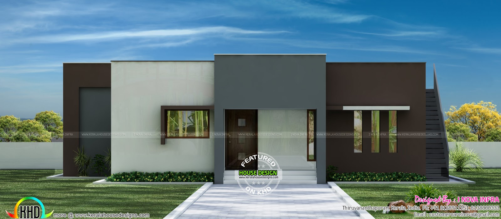 Minimalist house single floor kerala home design and for Minimalist house design kerala