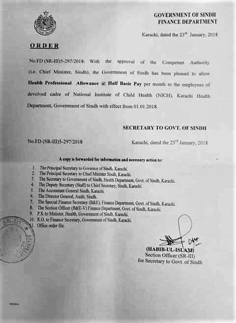 GRANT OF HEALTH PROFESSIONAL ALLOWANCE BY GOVERNMENT OF SINDH TO THE EMPLOYEES OF DEVOLVED CADRE OF NICH