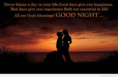 Romantic Good Night Love Quotes: never blame a day in your life, good days give happiness, bad days give you experience.