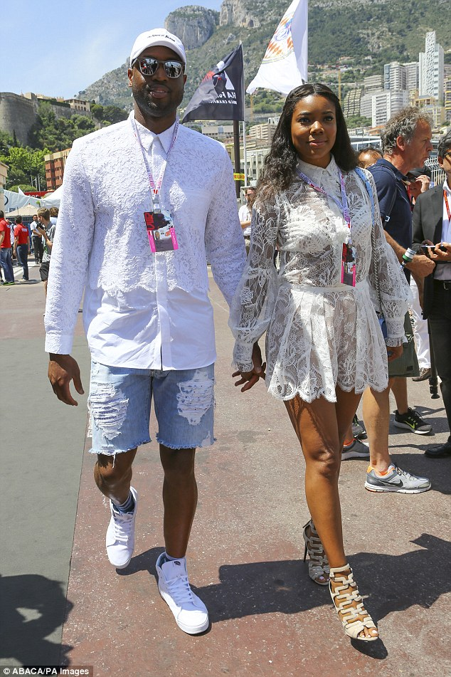 Gabrielle Union shows off underwear in sheer lace dress