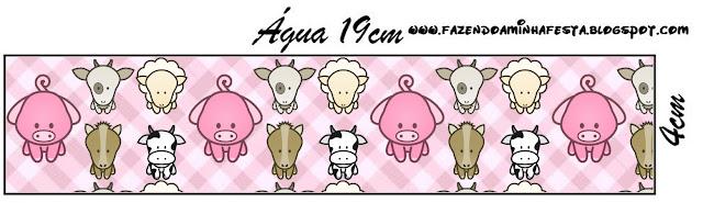 Etiquetas para personalizar botellas de agua de La Granja Bebés en Rosa para imprimir gratis.